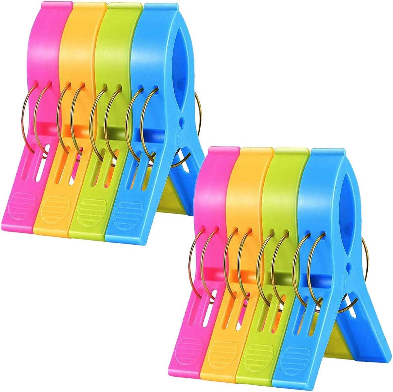 JieGuanG - Pinzas para toallas de playa, 8 unidades, de plástico a prueba de viento, de gran tamaño, pinzas para ropa para sillas de piscina, lavandería, tumbonas y tumbonas