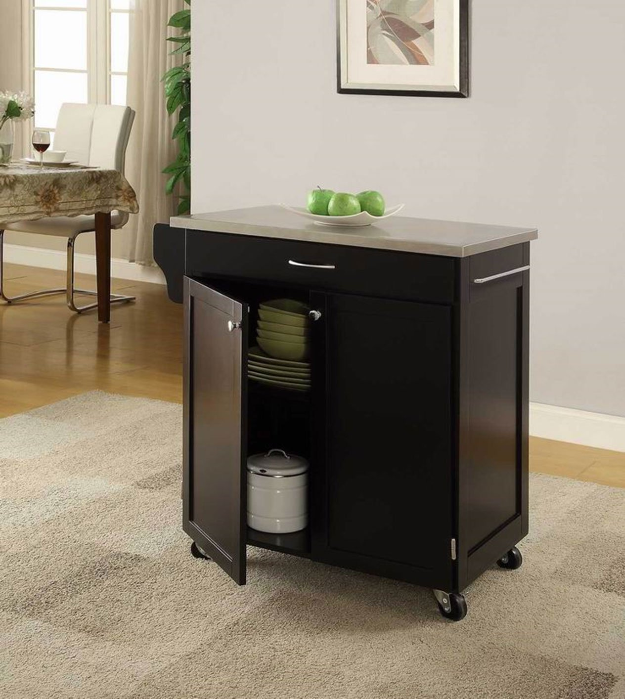 "LIFE Home Oliver and Smith - Nashville Collection - Mobile Kitchen Island Cart on Wheels - Black - Stainless Steel Top - 32"" W x 19"" L x 36"" H 102066-01blk"