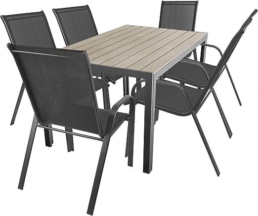Terraza Jardín de 7 piezas. Aluminio polywood/Non Wood Jardín Mesa ...