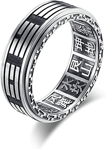 Bishilin Stainless Steel Ring Wedding Round Diamond Ring Biker Ring for Men Black 11
