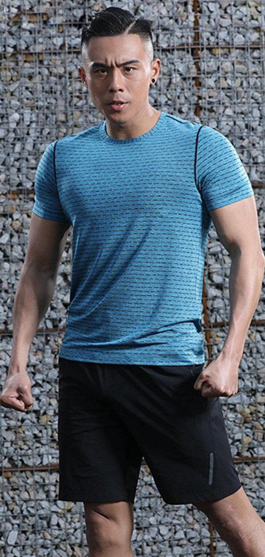 TBMPOY Mens Quick Dry Athletic Sports T Shirts Short Sleeve Running Top