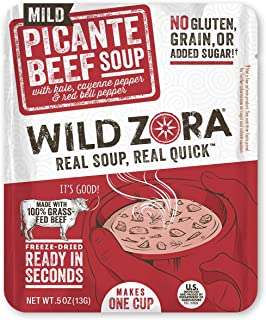product image for Wild Zora Instant Keto Soups - Picante Beef - Healthy Broth with 100% Grass Fed Beef and Vegetables - Gluten Free, Keto Snack, Grain Free, Low Carb - Individual Packets (12-Pack)