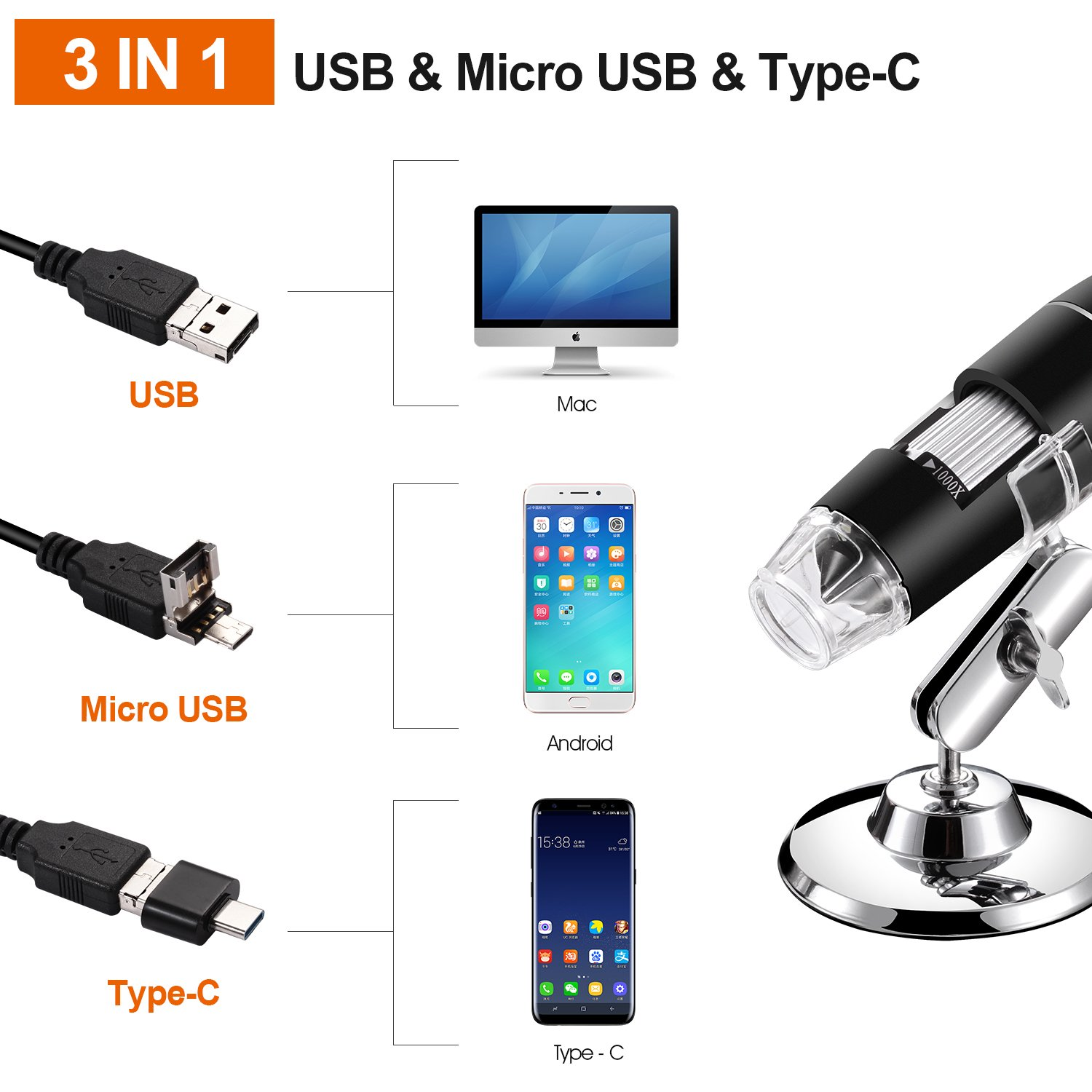 USB Digital Microscope, Bysameyee Handheld 40X-1000X Magnification Endoscope, 8 LED Mini Video Camera for Windows 7/8/10 Mac Linux Android (with OTG) by Bysameyee (Image #1)