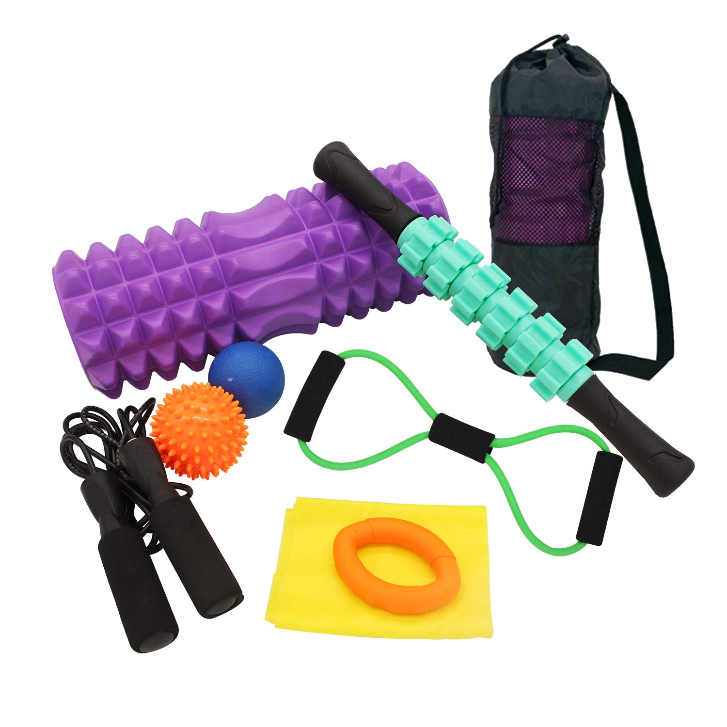 TerriTrophy 9 in 1 Foam Roller Set Includes Foam Roller Cap Muscle Roller Stick Massage Ball Spike Ball Jumping Rope Resistant Band, Grip Strengthener All in One Carry Bag