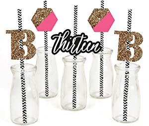 Chic 13th Birthday - Pink, Black and Gold - Paper Straw Decor - Birthday Party Striped Decorative Straws - Set of 24