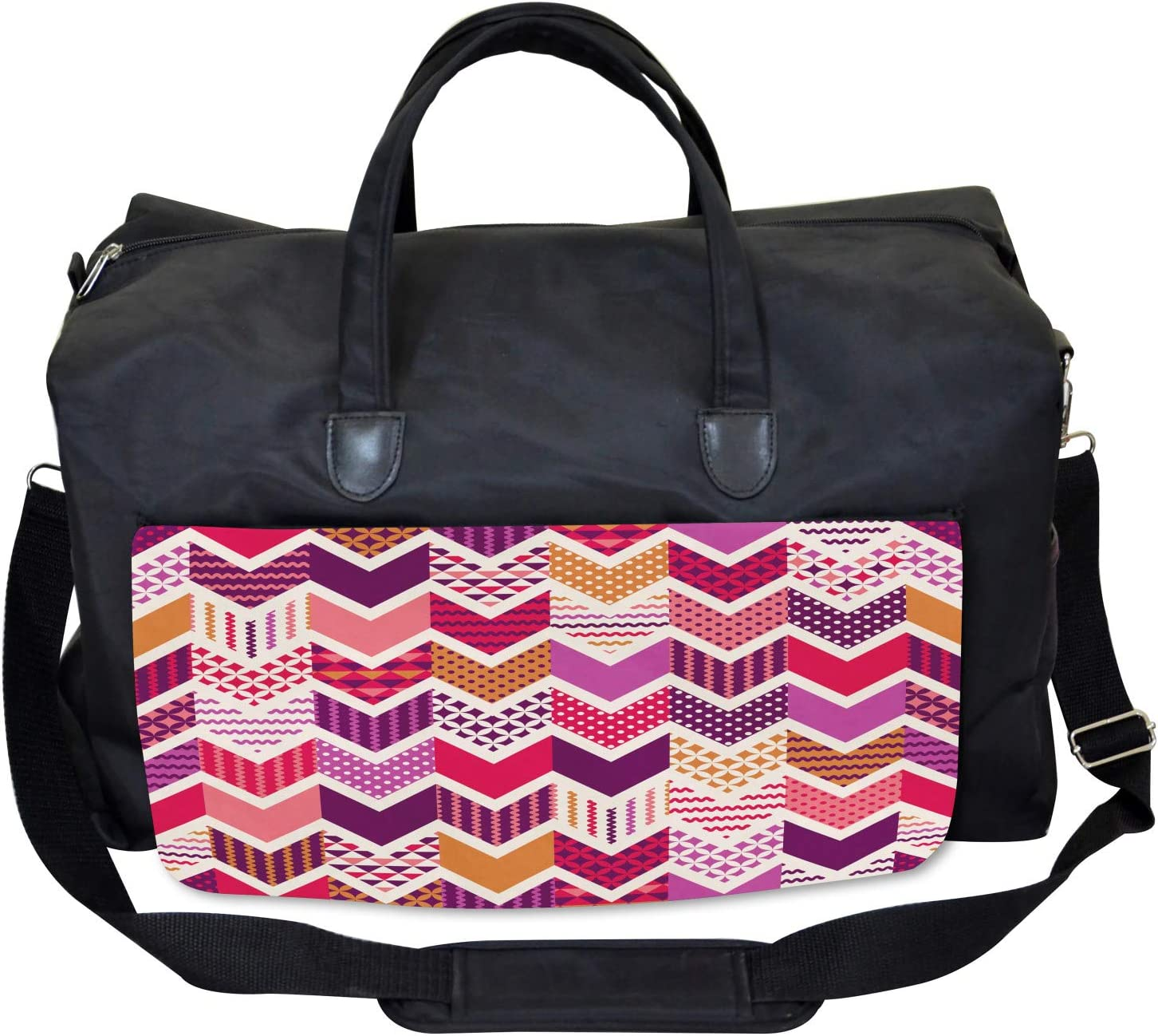 Ambesonne Colorful Gym Bag Arrow Chevron Geometry Large Weekender Carry-on