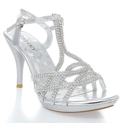 313e215220b V-Luxury Womens 32-ESSENTIAL74 Open Toe Rhinestone Strappy Stiletto High  Heel Sandal Shoe