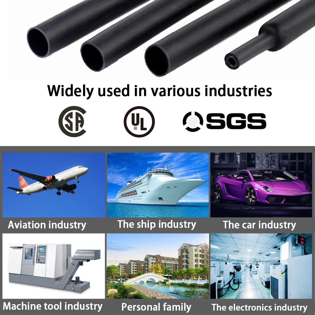 3//4 19.1mm Dual Wall Heat Shrink Tubing 3:1 Ratio Heat Activated Adhesive Glue Lined Marine Shrink Tube Wire Sleeving Wrap Protector Black 5Ft