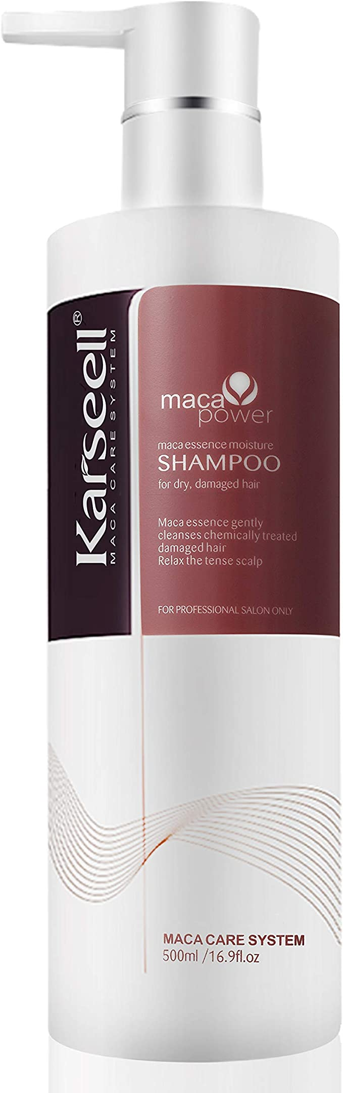 Champú Karseell aceite de argán extracto de proteína de queratina voluminizante champú hidratante suave en cabello rizado tratado para cabello seco y ...