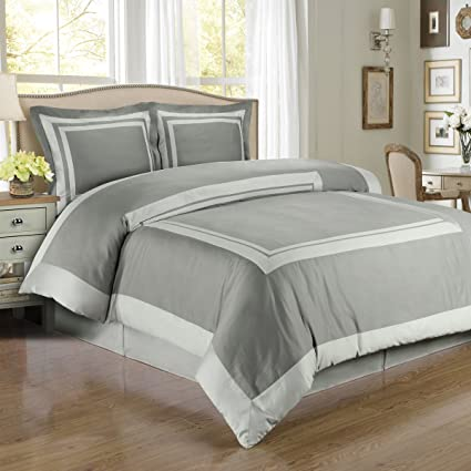 4pc King Cal King Bedding Set Including 300tc Hotel Grey With Light Grey Duvet Set Cover Set White Down Alternative Comforter