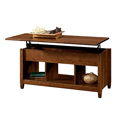 Lift Top Coffee Table With Hidden Storage And 3 Cubes Brown Finish Wooden Modern  Coffee