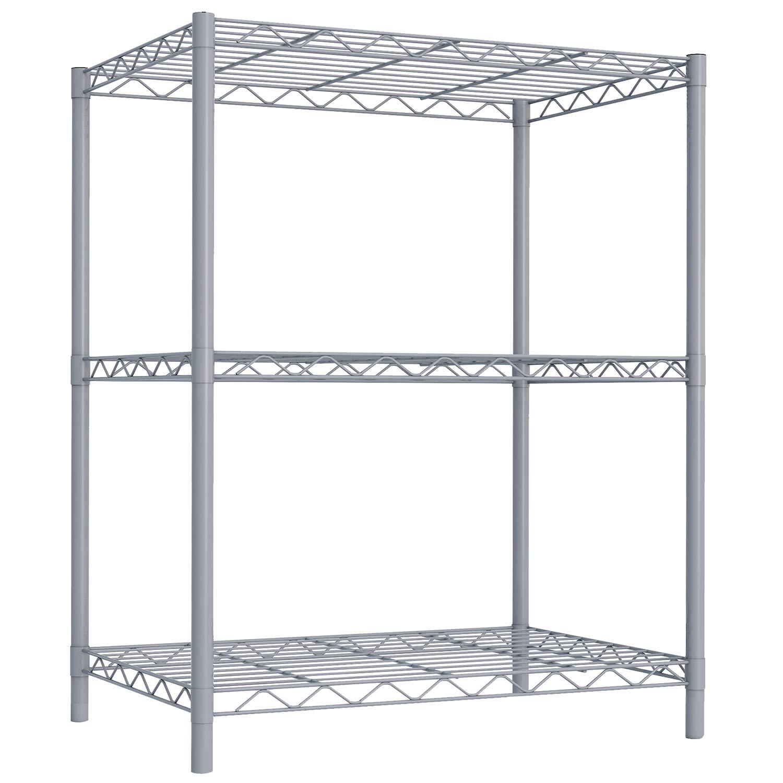 "Sunbeam WS00690 3 Tier Wire Shelving Storage Unit, 32"", Gray"