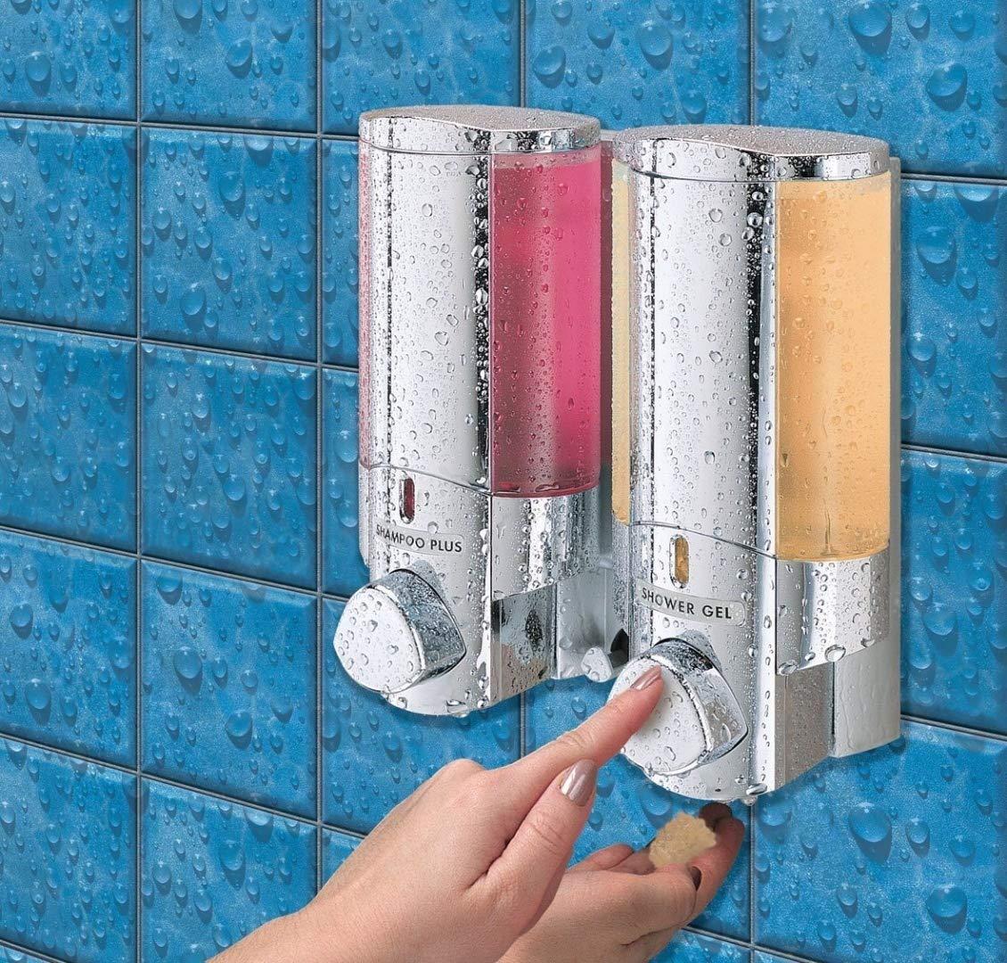 Aviva Chrome Finish Double Soap - Shampoo - Gel Dispenser Better Living