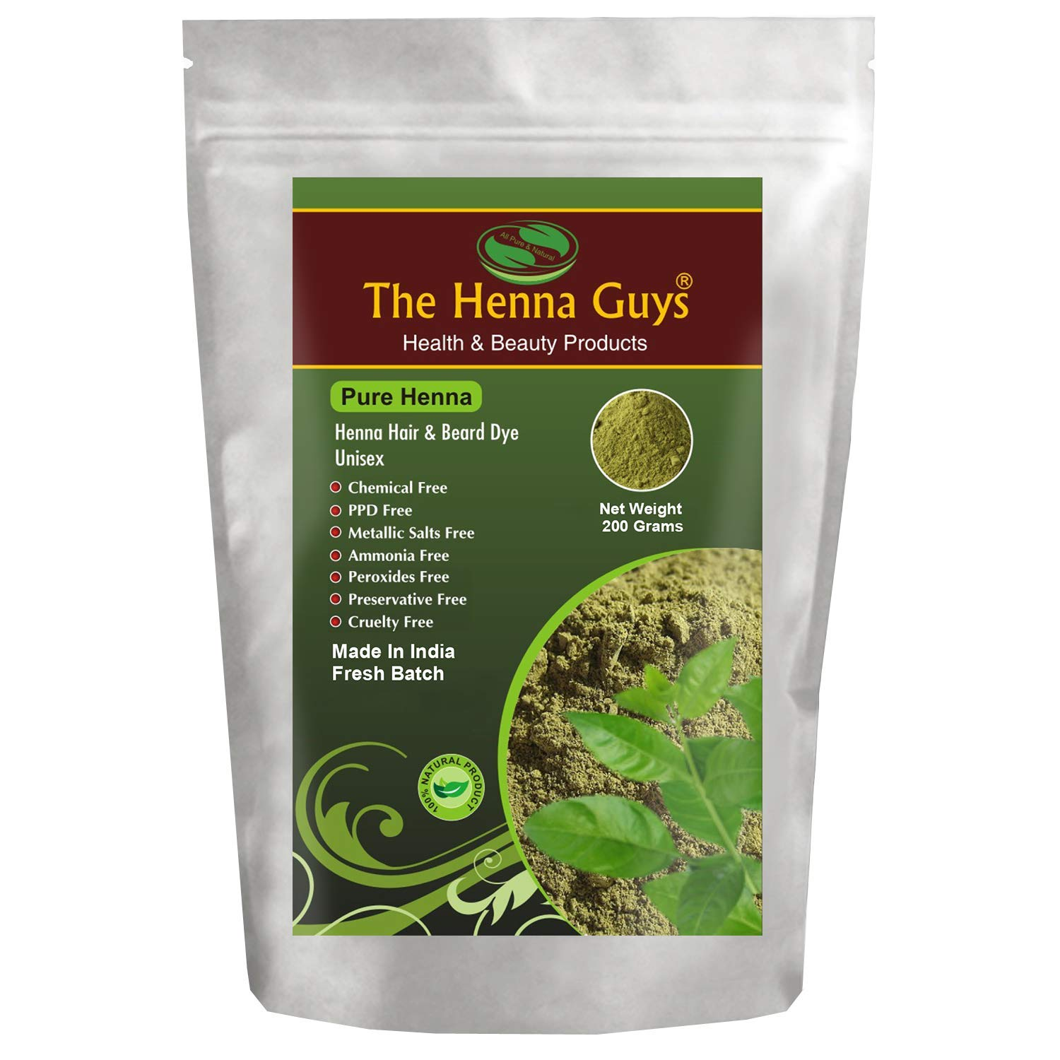 The Henna Guys 100% Pure and Natural Henna Powder for Hair Dye/Color, 200g by The Henna Guys