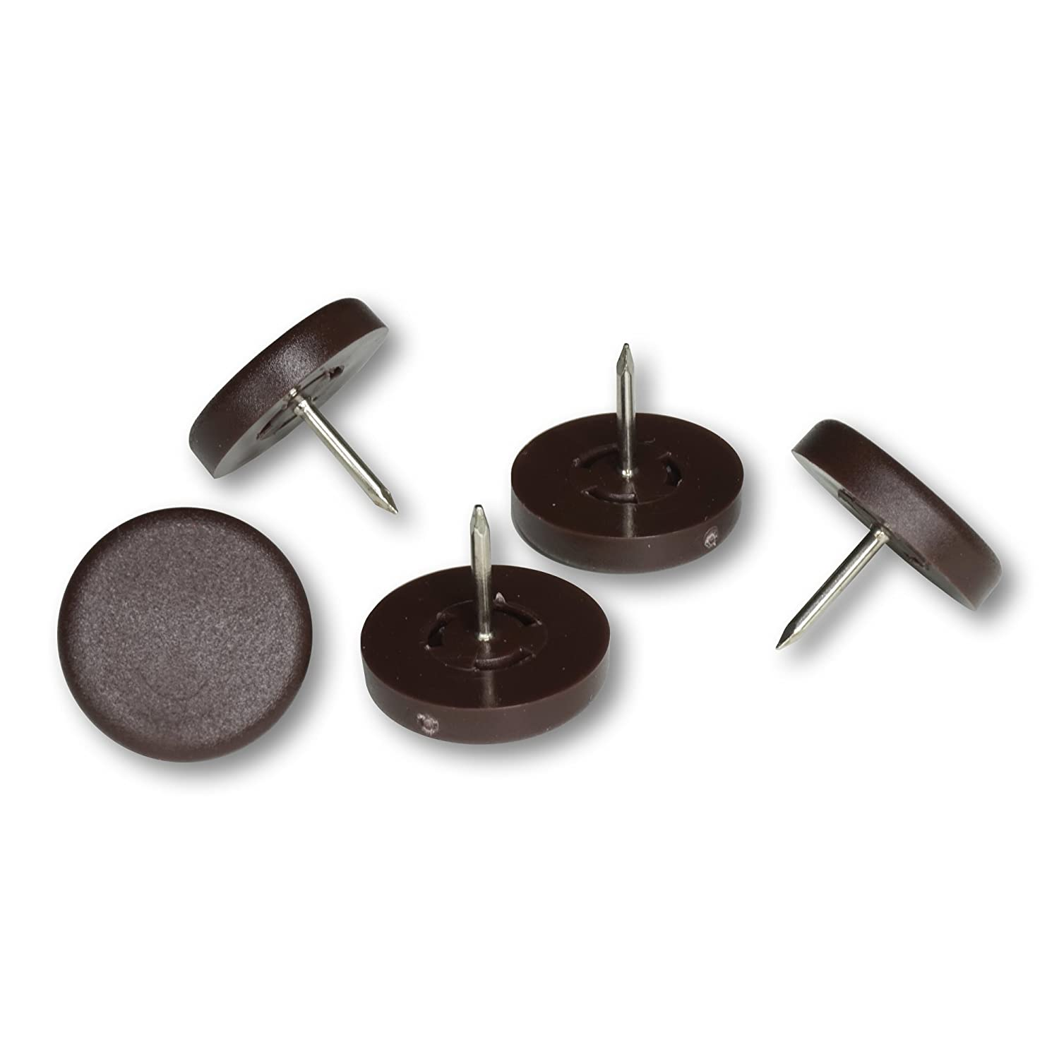 Plastic Furniture Pads with Nail, brown, 15 mm dia, 5 mm thick - 12 Pieces, as floor protector for case legs, table legs, chair legs - Made in Germany K.D.J. Brand GmbH & Co. KG