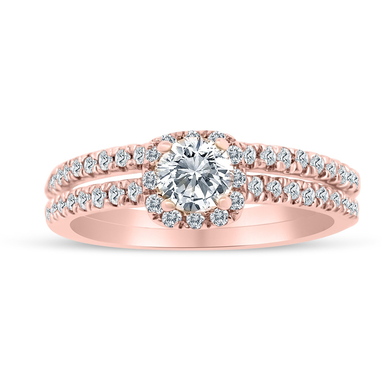 5/8ctw Diamond Halo Bridal Set Engagement Ring in 10k Rose Gold