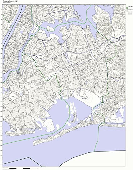 Working Maps Queens County, New York NY Zip Code Map Not Laminated on