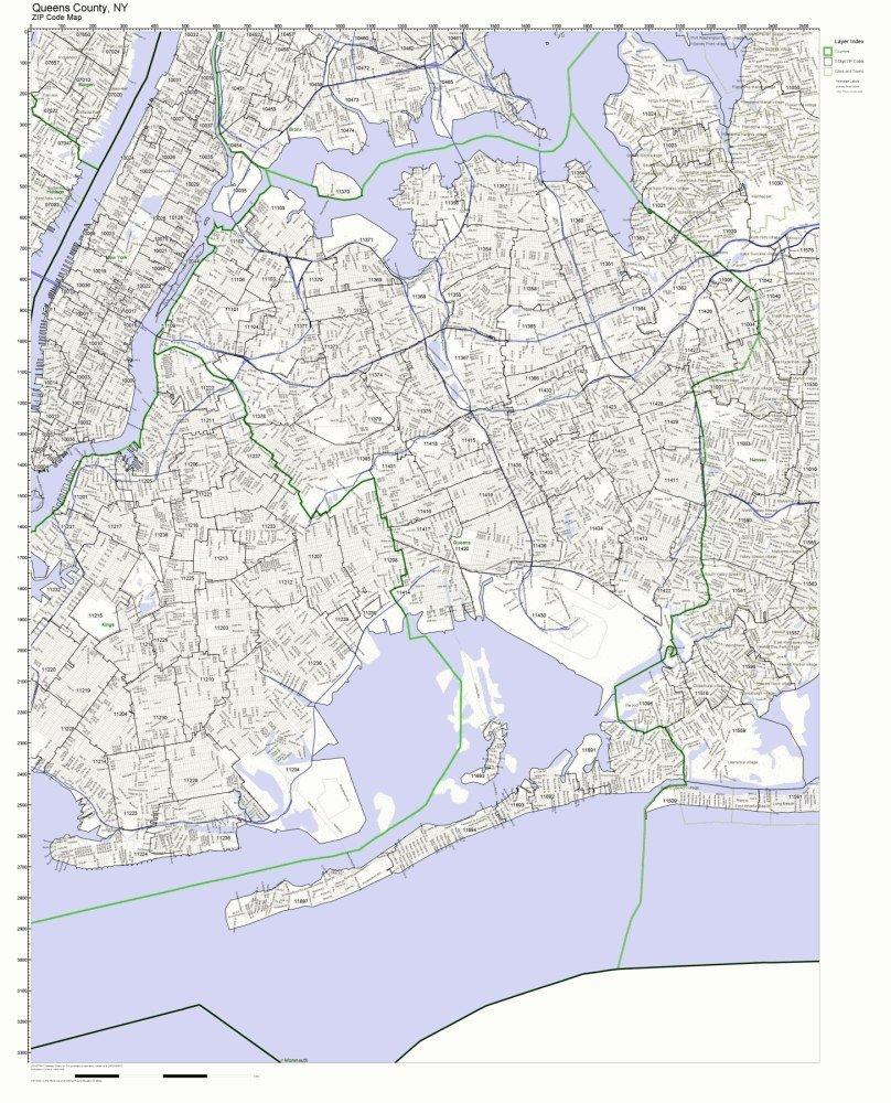 Amazon Com Queens County New York Ny Zip Code Map Not Laminated