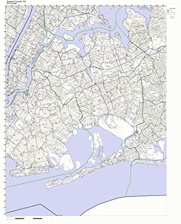 Amazon Com Queens County New York Ny Zip Code Map Not Laminated