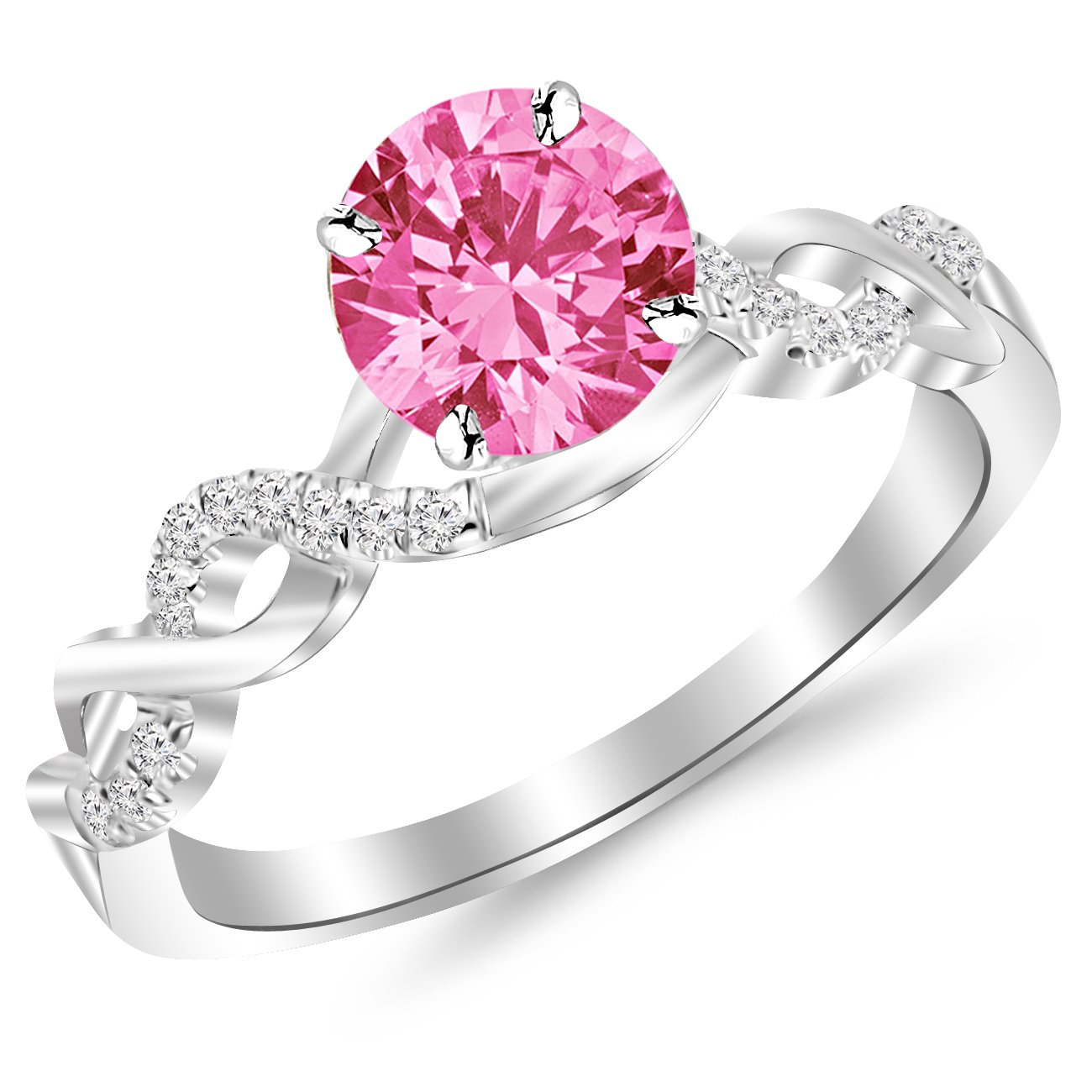 0.63 Carat 14K White Gold Twisting Infinity Gold and Diamond Split Shank Pave Set Diamond Engagement Ring with a 0.5 Carat Natural Pink Sapphire Center (Heirloom Quality)