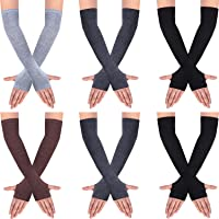 6 Pairs Women Long Fingerless Gloves Knit Arm Warmer Thumb Hole Stretchy Gloves