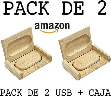 USB de Madera (16GB) PACK de 2 USB De Madera + Caja de madera Para Fotógrafos