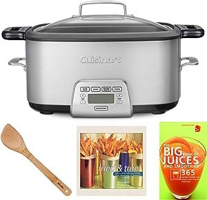 Cuisinart MSC800 Cook Central Multi-Cooker (7-Quart) Bundle Set w/Bamboo Spatula and Cookbooks (4 Items)