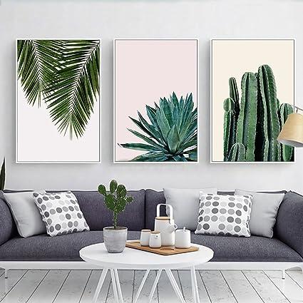 Amazon.com: Stylish Cactus, Agave & Palm Leaves Canvas Print, Wall ...