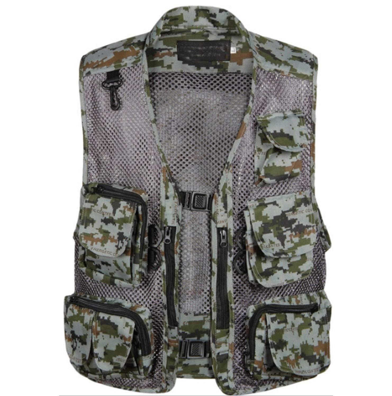 Natural Large Men's Camouflage Vest Outdoor MultiPocket MiddleAged Mesh Jacket Summer
