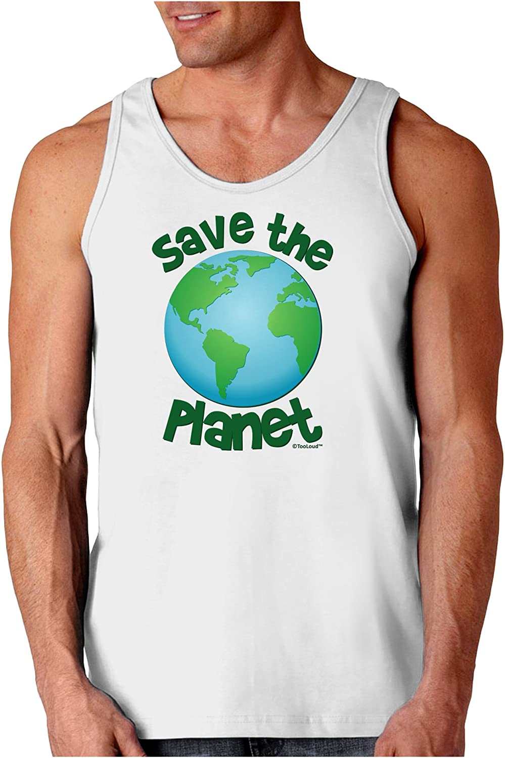 TooLoud Save The Planet Earth Mens Ribbed Tank Top
