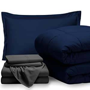 Bare Home Bed-in-A-Bag 5 Piece Comforter & Sheet Set - Twin Extra Long - Goose Down Alternative - Ultra-Soft 1800 Premium - Hypoallergenic - Breathable Bedding Set (Twin XL, Dark Blue/Grey)