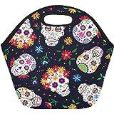 InterestPrint Mexican Sugar Skull Insulated Lunch Tote Bag Reusable Neoprene Cooler, Day of the Dead Portable Lunchbox Handbag for Men Women Adult Kids Boys Girls