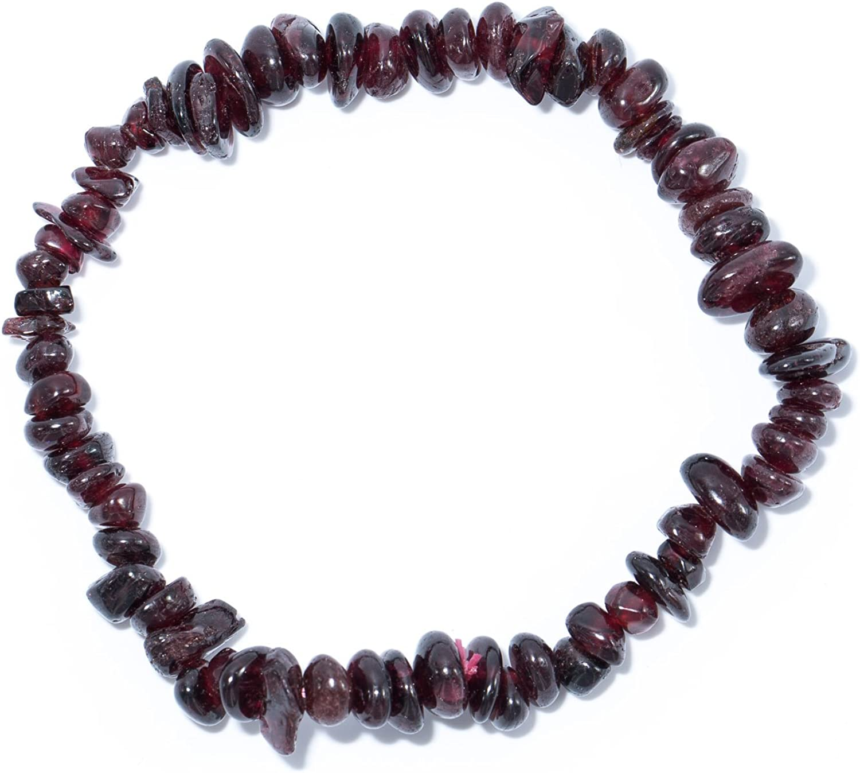 Tadd Art Minerals–Rojo Oscuro Marrón Divisor Pulsera de la Piedra Preciosa Natural Granate Sobre elástico Nylon Hilos aufgezogen–Hecha a Mano
