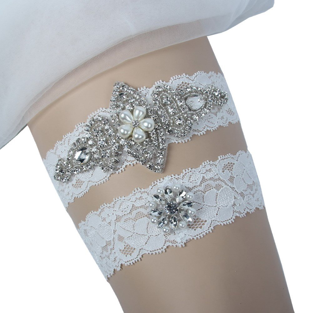 1a5e2d08900 Amazon.com  Prettybabyonline Wedding Garters for Bride White Bridal Garters  Keep and toss  Clothing