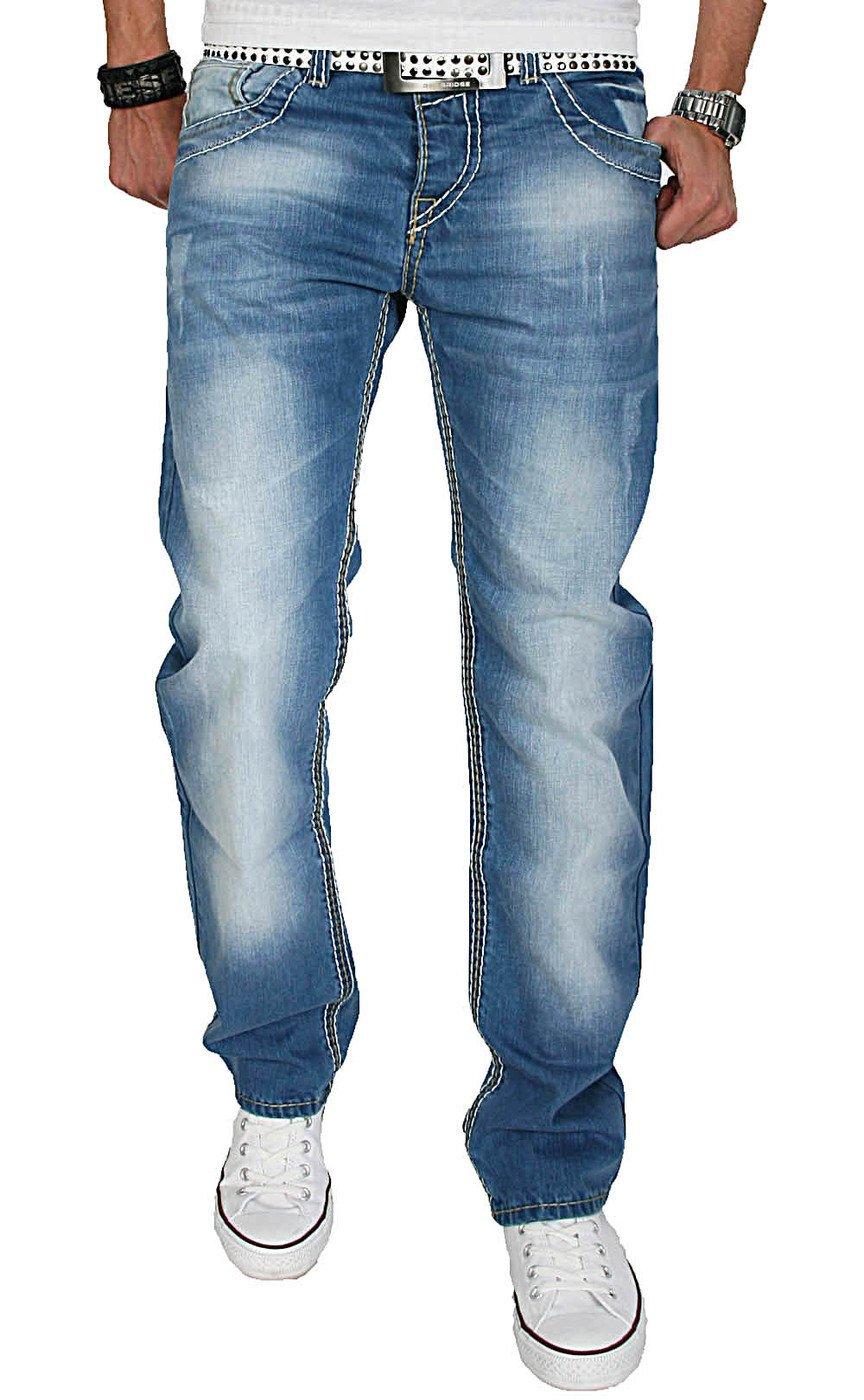 A. Salvarini Herren Designer Jeans Hose m. dicken weiß-gelben Nähten ...