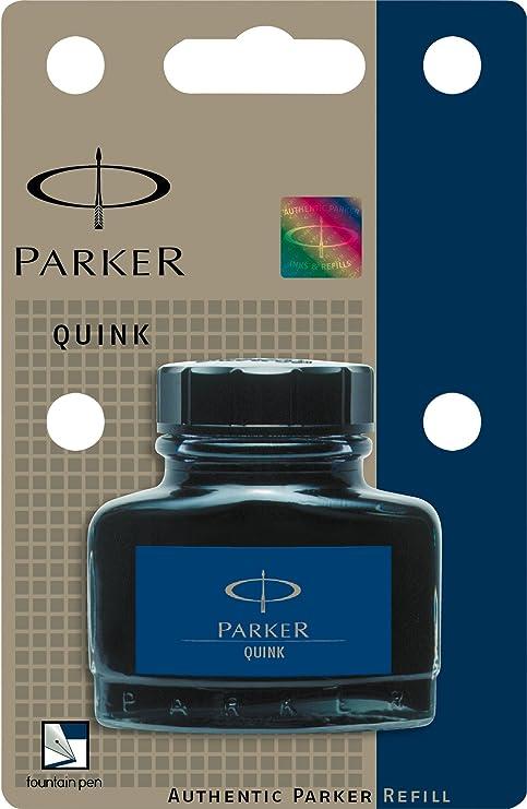 Parker Quink - Tinta permanente para estilográficas (57 ml), color negro y azul