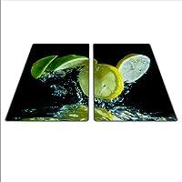 Universel Lot de deux planches pour protéger Réchaud: Verre, céramique, Induction et gaz, chaque Tableau dispose de 4pieds en silicone qui protège contre les rayures, saturation des couleurs profondes grâce au carte graphique HD, dimensions: 2x 30x 52cm, Thème: Citron vert, couleur: noir