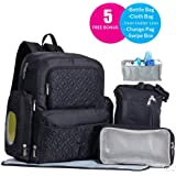 Diaper Bag Backpack For Mom Dad Gifts Set Multi Function Baby Bags Organizer With Stroller Straps| Large Capacity For Diapers,Wipes,Bottles,Cloth Stylish Big Travel Cool Warm Storage Box (6 pcs)