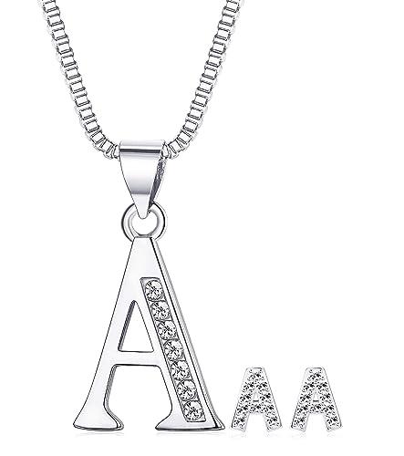 b1b03230d JOERICA 26 Initial Letters Stud Earrings Necklace Jewelry Set for Women  Girls CZ Alphabet A-Z