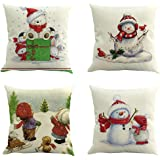 Baulody Set of 4 Christmas Cotton Embroidered Decorative Grey Throw Pillow Covers Cushion Cases for Couch Sofa Bed Living Room Euro Farmhouse Gray Floral Geometric 18 x 18 inch 45 x 45 cm