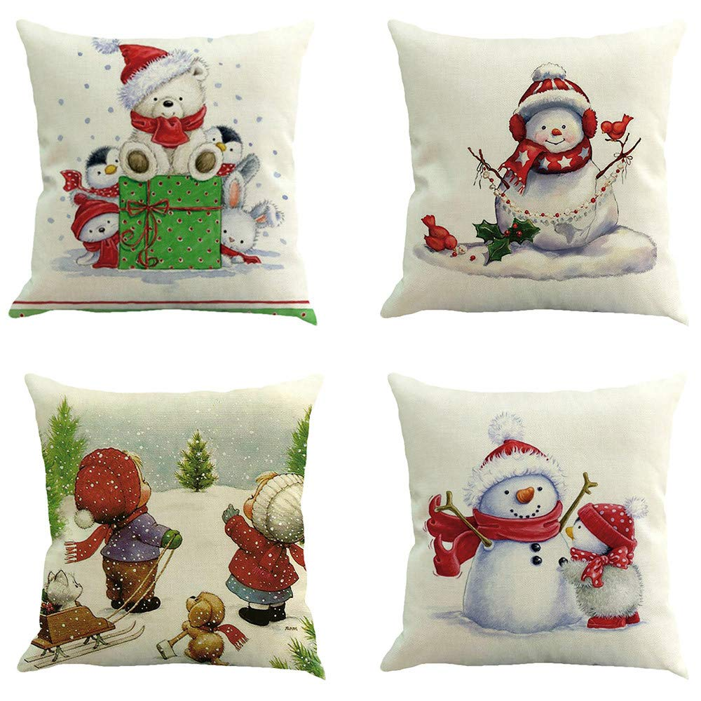 Christmas Pillow Covers 4 Pack Snowman Christmas Tree Santa Claus Decorative Sofa Throw Pillow Case Cushion Covers 18 X 18 Inch (A)
