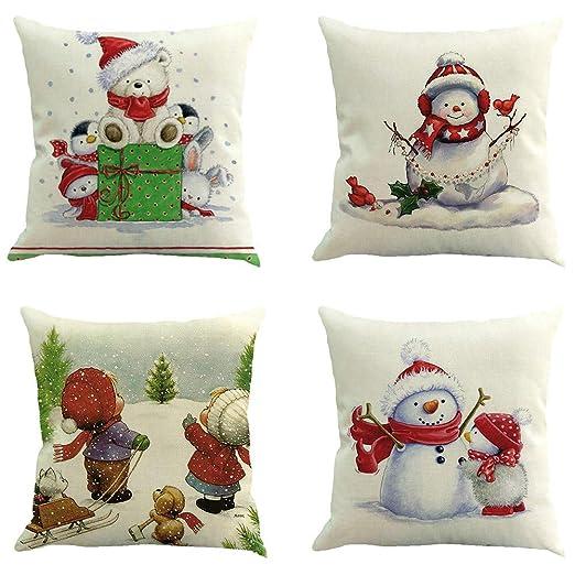 Christmas Pattern Cotton Linen Sofa Waist Cushion Cover Car Pillow Case Cover