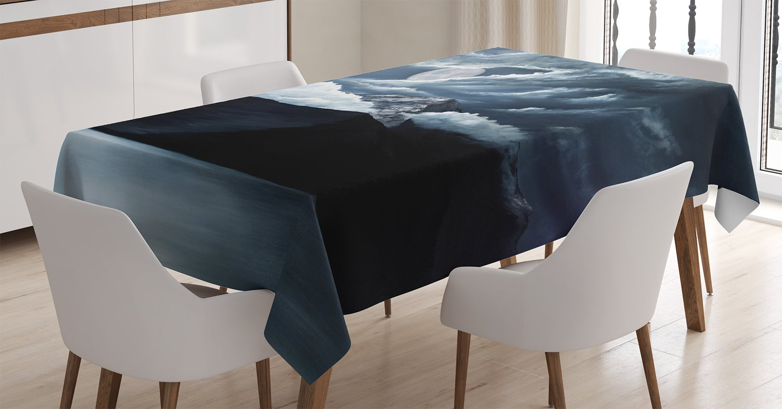 Ambesonne Americana Landscape Decor Tablecloth by, Moon Over Lake and Hills with Dark Storm Clouds Twilight Dawn at Night, Dining Room Kitchen Rectangular Table Cover, Grey 71y txh0yHL