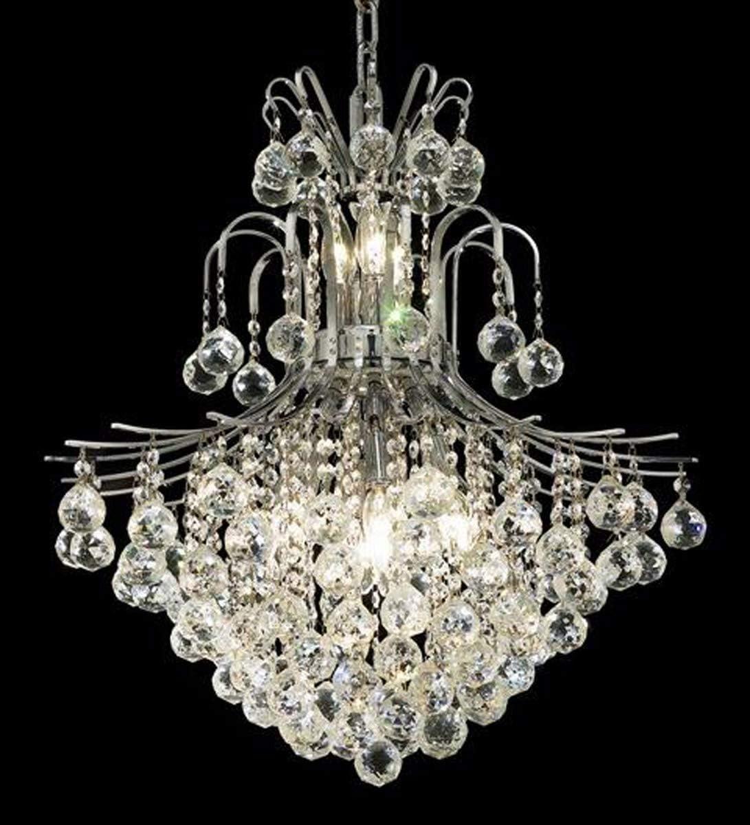 Elegant Lighting 8002D22C EC Toureg Collection 11-Light Hanging Fixture with Elegant Cut Crystals, Chrome Finish