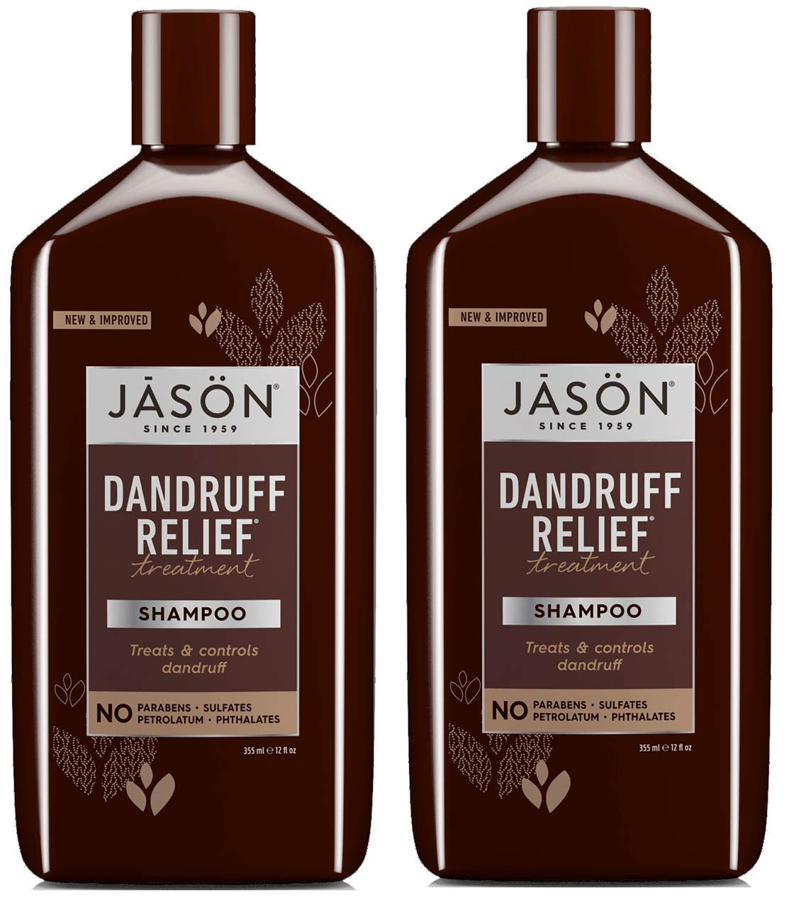 Jason Dandruff Relief Shampoo (Pack of 2) with Olive Fruit Oil, Patchouli Oil, and Jojoba Seed Oil, 12 fl. oz. by JASON