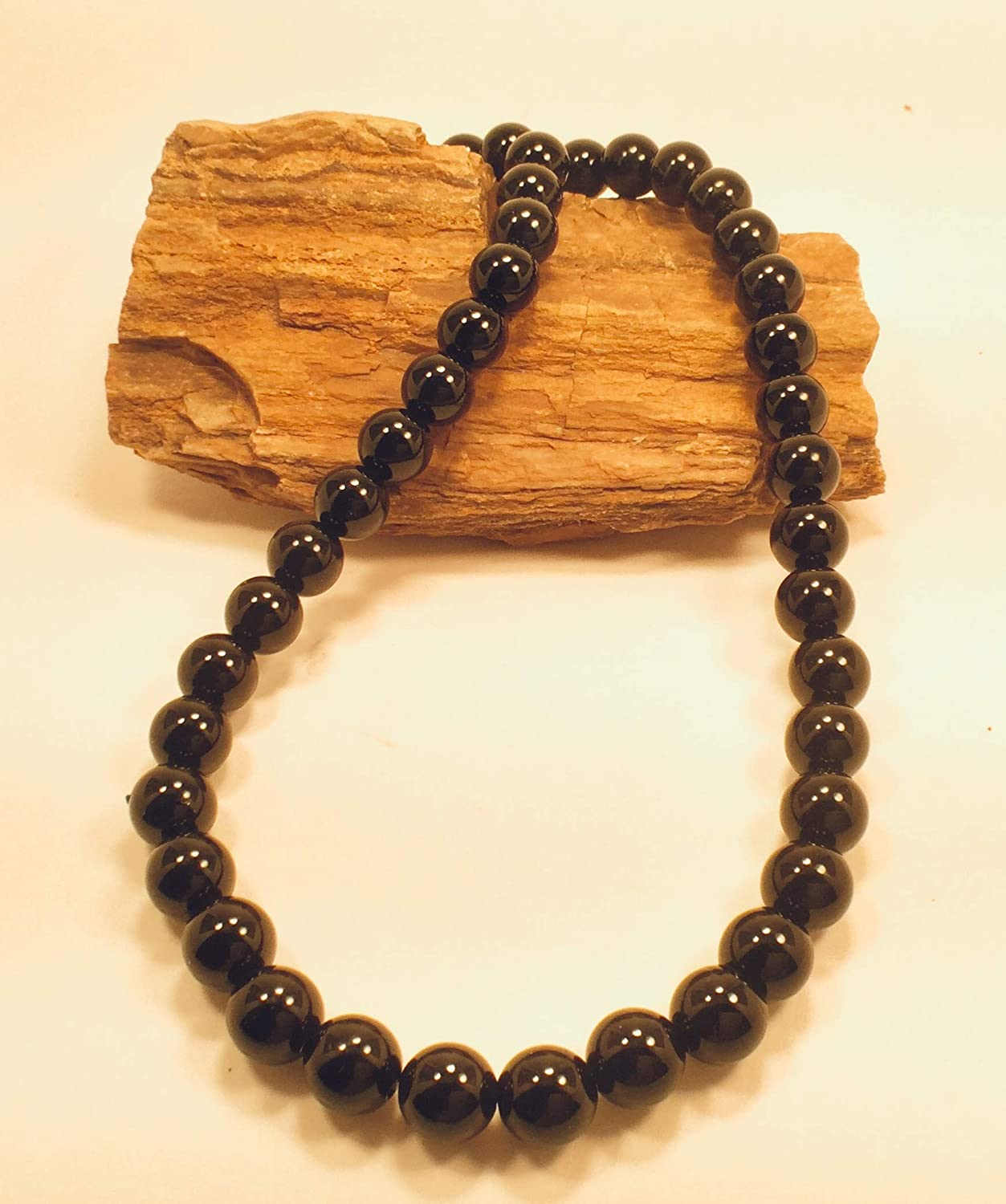 Necklace 8mm Natural Glossy Black Agathe Beads Gemstones Black Aga Chakra /& Reiki Energy healing bracelet Yoga Bracelet Perfect for Jewelry Making Earrings and DIY Jewelry By: Healing Stones /& Crystals co. 45 to 48 beads per strand Good Luck Charm