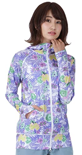 ICEPARDAL(アイスパーダル)全20色柄レディースラッシュガードパーカーIR-7200グラスパープルWXXLサイズ長袖ラッシュパーカーUVカットUPF50+指穴つきおしゃれかわいい人気女性用体型カバー水着花柄紫色