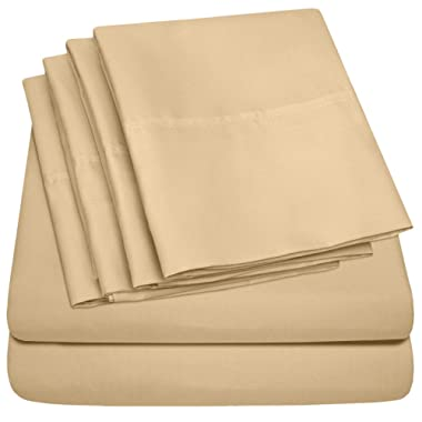 King Size Bed Sheets - 6 Piece 1500 Thread Count Fine Brushed Microfiber Deep Pocket King Sheet Set Bedding - 2 Extra Pillow Cases, Great Value, King, Camel