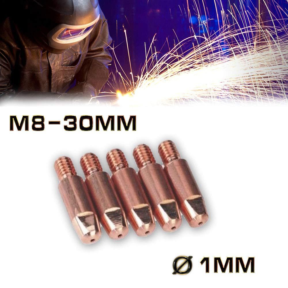 Jurmann Trade GmbH® 5 x Stromdüse MIG/MAG M8-30mm Ø-1mm Cu-E MB14/15/24 Schweißspitze Kontaktrohr hergestellt für filestorm.sro