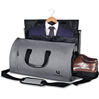 Carry-on Garment Bag with Shoulder Strap & Pockets, 2 in 1 Hanging Foldable Suit Bag with Shoe Compartment, 45L Large Capacity Portable Flight Bag for Travel & Business Trip(Grey)